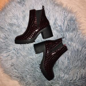 Missguided Wine croc boots!